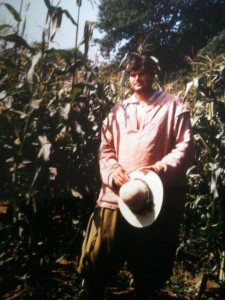 Darin in front of the corn field at Plimoth Plantation in 1996