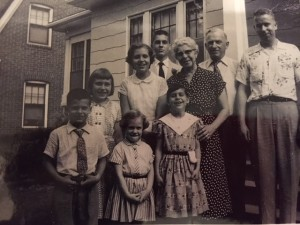 Grandma, Grandpa, Uncle Frank, my siblings, and I (the youngest one making an awkward face!)